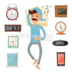 Arte vectorial : Alarm clock and sleeping man vector illustration