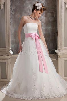 Dresswe.comサプライ品シックな裁判所列車ダリアのAラインウェディングドレス プリンセス ストラップレス  ウェディングドレス2014