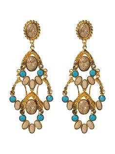 Desert Jasper and Turquoise Beaded Fringe Earring in Aztec