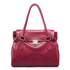 Red leather hollow shoulder bag #shoulder bags