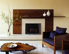 fireplace mantal and coffee table