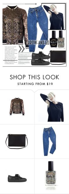 """""""Sequinned  Bomber Jacket   outfit inspiration  """" by runway2street ❤ liked on Polyvore featuring Lauren Cecchi, PèPè, Ateljé 71 and Lauren B. Beauty"""