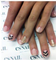 Chevron nail art & glitter accent nail design