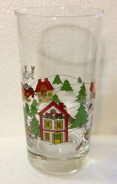 "Jamestown Action THE JOY of CHRISTMAS Scene Glass GlasswareTumbler 10 oz Excellent Condition 5 5/8"" tall by libertyhallgirl on Etsy $5.00 EACH"
