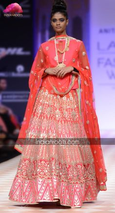 hot pink lehenga featuring intricate gota patti hand embroidery by Anita Dongre on Indianroots.com