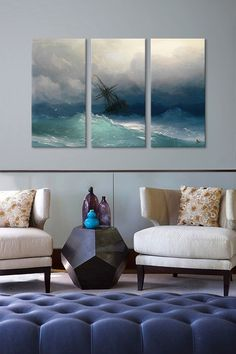 Ship on a Stormy Seas 3 Panel Sectional Wall Art Decorating Your Home, Interior Decorating, Interior Design, Home Renovation, Home Remodeling, Feng Shui, My Dream Home, Beautiful Homes, Family Room