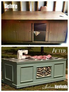 Um, Brilliant.  Turn an old executive desk into a sewing table.  Lots of flat work space, place to drop your cords.. storage.  Boom.  From: Southern Revivals <-- great website.
