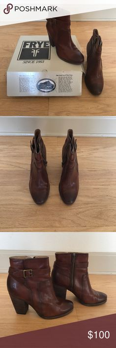 Frye Patty Riding Leather Boots Frye Redwood color leather booties, worn twice Frye Shoes Ankle Boots & Booties