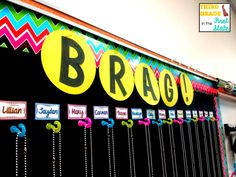 Love this idea! Diary of a Not So Wimpy Teacher: Brag Tags in the Classroom. Buy a roll of chain from Hobby Lobby and cut. 5th Grade Classroom, Classroom Community, Kindergarten Classroom, School Classroom, Classroom Ideas, Future Classroom, Classroom Organization, Neon Classroom Decor, Classroom Crafts