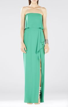 Felicity Asymmetrical Front Slit Strapless Gown