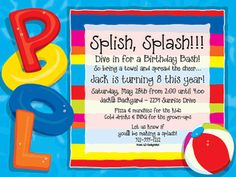 A Pool party can kick off the season perfectly and this invitation is sure to be a hit. Created with bright colors and the word Pool in fun charactors and a beach ball on the side. Available personalized only. Pool Party Cakes, Pool Party Themes, Pool Party Kids, Kid Pool, Party Ideas, Beach Party, Theme Ideas, Splash Party, Pool Party Invitations
