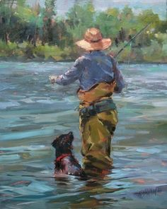 Jim and Cicada, fly fishing with guide dos montana on big horn river..Mary Maxam