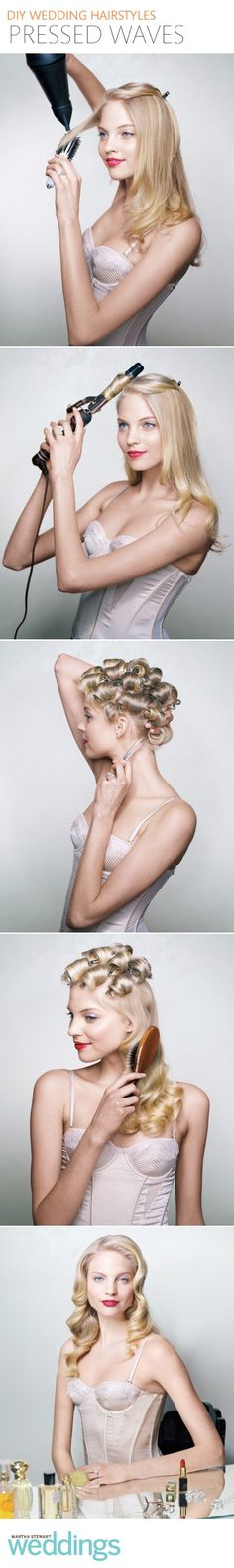 The perfect tutorial for vintage old holywood waves and curls, another variation would be to start off with damp hair and distribute mousse through it, then part it deep to one side and put rollers in the hair starting at the part. Let it air dry or use a hair dryer and when you take them out brush out the curls. Great for prom!