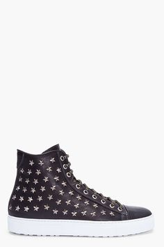 DSQUARED2 Black Leather Star Studded Jets Sneakers