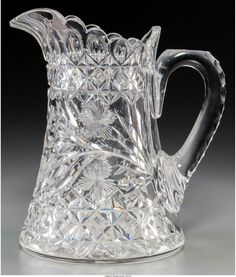 A Libbey Brilliant-Cut Crystal Pitcher, American, century Stenciled Libbey to thumbrest inches high cm). Glass Pitchers, Antique Glass, Cut Glass, Clear Crystal, Stencils, Crystals, Antiques, Beautiful, History