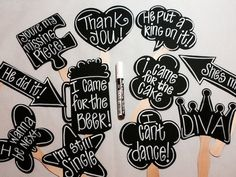 Chalk Marker PLUS 10 BLANK Chalkboard Photo booth Props Speech Bubble Props Chalk Board Photobooth Props Wedding Photo Props
