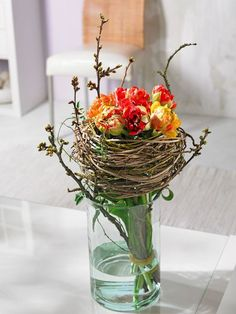 Tulips Bouquet - nest with cherry branches