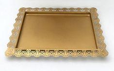 Light Gold  - Platter  Rectangular - Vintage with Filigree Design -  Code GD0033 Different Cakes, Filigree Design, Cake Stands, Celebration Cakes, Dessert Table, Platter, Bar Cart, Wood Cake Stands, Holiday Cakes