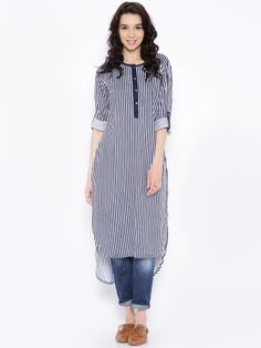 Kurta designs women - Buy Anouk White And Navy Striped High Low Kurta Apparel for Women from Anouk at Rs 899 Simple Kurti Designs, Kurta Designs Women, Kurti Neck Designs, Salwar Designs, Kurti Designs Party Wear, Blouse Designs, Stylish Dresses, Casual Dresses, Casual Outfits