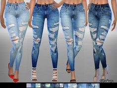 Created By Pinkzombiecupcakes PZC_Ripped Denim Jeans 06 Created for: The Sims 4 With custom thumbnail. Available in 17 colors. In CAS at pants and also Jeans section. The Sims 4 Pc, Sims Four, Sims 4 Cas, Sims Cc, Denim Jeans, Ripped Denim, The Sims 4 Jeans, Sims 4 Game Mods, Sims4 Clothes