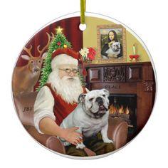 Santa-English Bulldog Christmas Tree Ornaments