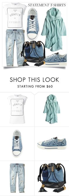 """""""The Statement T-Shirt ~ There is beauty in simplicity"""" by lucky-ruby ❤ liked on Polyvore featuring Brunello Cucinelli, Calypso St. Barth, Valentino, Hollister Co., See by Chloé, blueandwhite, denim, Blue and statementtshirt"""