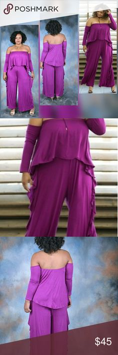 Plus Size Side Ruffle Off Shoulder Jumpsuit  Color: Magenta Long-Sleeve Off Shoulder Side Ruffle Wide-Leg Arms are connected Pants Jumpsuits & Rompers