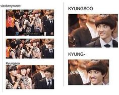 This is the ultimate picture. Not only is Kyungsoo hilarious because of his facial expression, but also the fact that VIXX is dressed up as girls both lifts my spirits from the Krisis and also destroys my confidence. > this is why I love D.O Kdrama Memes, Exo Memes, Funny Memes, Cnblue, Btob, Vixx, Kyungsoo, Chanyeol, Astro Sanha