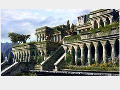 The hanging Gardens of Babylon built by Nebuchadnezzar. One of the seven wonders of the world.