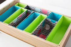 Como fazer organizadores de gavetas com caixas de cereal - Casinha Arrumada
