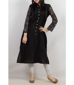 Black chikan kurta with net sleeves