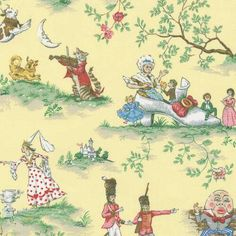 Yellow Nursery Rhyme Toile Fabric by the Yard | Yellow Nursery Rhyme Fabric | Carousel Designs #fabric