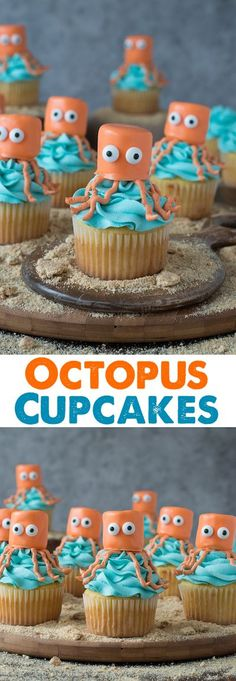 Octopus Cupcakes – perfect for an under the sea party! Octopus Cupcakes – perfect for an under the sea party! Summer Cupcakes, Oreo Cupcakes, Cute Cupcakes, Cupcake Cookies, Party Cupcakes, Pool Cupcakes, Animal Cupcakes, Baking Cupcakes, Cupcake Wars