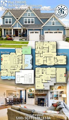 Architectural Designs Exclusive New American Home Plan gives you 5 bedrooms 4 5 baths and 5 100 sq ft Ready when you are Where do YOU want to build Dream House Plans, House Floor Plans, My Dream Home, 4000 Sq Ft House Plans, 5 Bedroom House Plans, Rustic House Plans, Family House Plans, The Plan, How To Plan