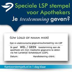 Electronisch dossier toestemmings stempel, gemaakt voor Apothekers en zorgverleners. Anti bacteriele LSP Stempels.