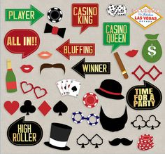 35 Casino Party Props, Casino printable decor, las vegas theme party, poker night photo booth props, casino photobooth printable props