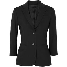 The Row Schoolboy stretch wool-blend crepe blazer ($1,675) ❤ liked on Polyvore featuring outerwear, jackets, blazers, slim fit jackets, tailored blazer, crepe blazer, blazer jacket and stretch blazer