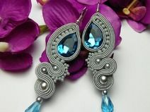 A beautiful, animal earrings set, hand-crafted and self-designed, created using a time-consuming soutache technique. **Cute earrings in an elegant shade of a turquoise and a silver grey color**. Soutache Necklace, Beaded Earrings, Earrings Handmade, Beaded Jewelry, Fabric Earrings, Animal Earrings, Cute Earrings, Etsy Earrings, Diy Accessoires