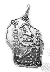 wisconsin madison state map usa sterling silver charm Real Sterling silver 925 pendant Charm jewelryLike this item find it at https://www.etsy.com/shop/princeofdiamonds