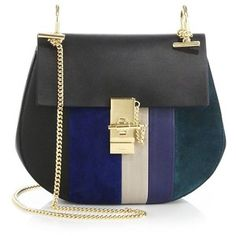 Chloe Drew Small Striped Leather & Suede Shoulder Bag