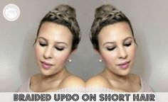 Easy Hairstyles for Short Hair, Braided Updo - Short hair can be so much fun when you get comfortable experimenting. Here are 6 cute and easy hairstyles for short hair Top Hairstyles, Easy Hairstyles For Long Hair, My Hairstyle, Short Hairstyles For Women, Short Hair Updo, Short Hair Styles, Easy Braided Updo, Fuller Hair, Hair Regrowth