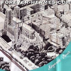 "Postcard from Paris ? Hermes presents this stunning scarf titled ""Regarde Paris"" by Bali Barret now in our store! http://forever-hermes.com #ForeverHermes with an aerial view of the iconic Notre Dame De Paris #Cathedral and scenic #Seine #River would make a stunning #WallDecoration for the #gentleman office! #MensSuit #mensfashion #mensnecktie #womensfashion #Paris #HermesParis #ParisCity #NotreDame #JadeGreen"