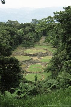 Looking down from viewpoint on excavated site of pre-Columbian city, Guayabo National Monument, Turrialba, Costa Rica, Central America