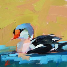 King Eider original duck oil painting by Angela Moulton 8 x 8 inch on panel prattcreekart ship date March 4
