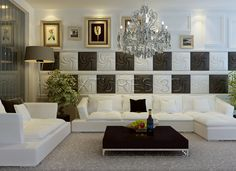 Artistic Textured Wall Paneling Behind Modern White Sofas And Box Coffee Table In Fancy Living Room With Classy Chandelier Tile Panels, 3d Wall Panels, Fancy Living Rooms, Modern Living, Leather Wall Panels, Decorative Wall Panels, White Sofas, Tile Installation, Interior Walls