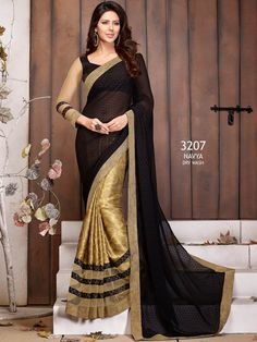 Gold with Black Embroidered Border Printed Saree 3207AM