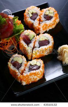Heart shaped sushi. Love Valentine treats that aren't sweet!