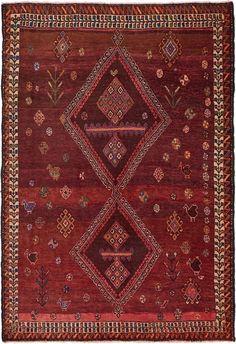 Burgundy 4' 2 x 6' 2 Hamedan Persian Rug | Persian Rugs | iRugs UK