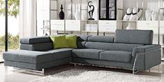 Grey Fabric Modular Sectional Sofa with Adjustable Headrest