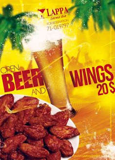 The #winter #season is back,we can take it easy on our #diet plan wink emoticon  This why LAPPA #jounieh is back with delicious special hot or barbecue open #chickenwings & #beer for only 20$ Every #Monday and #Tuesday  Reservation 71019797